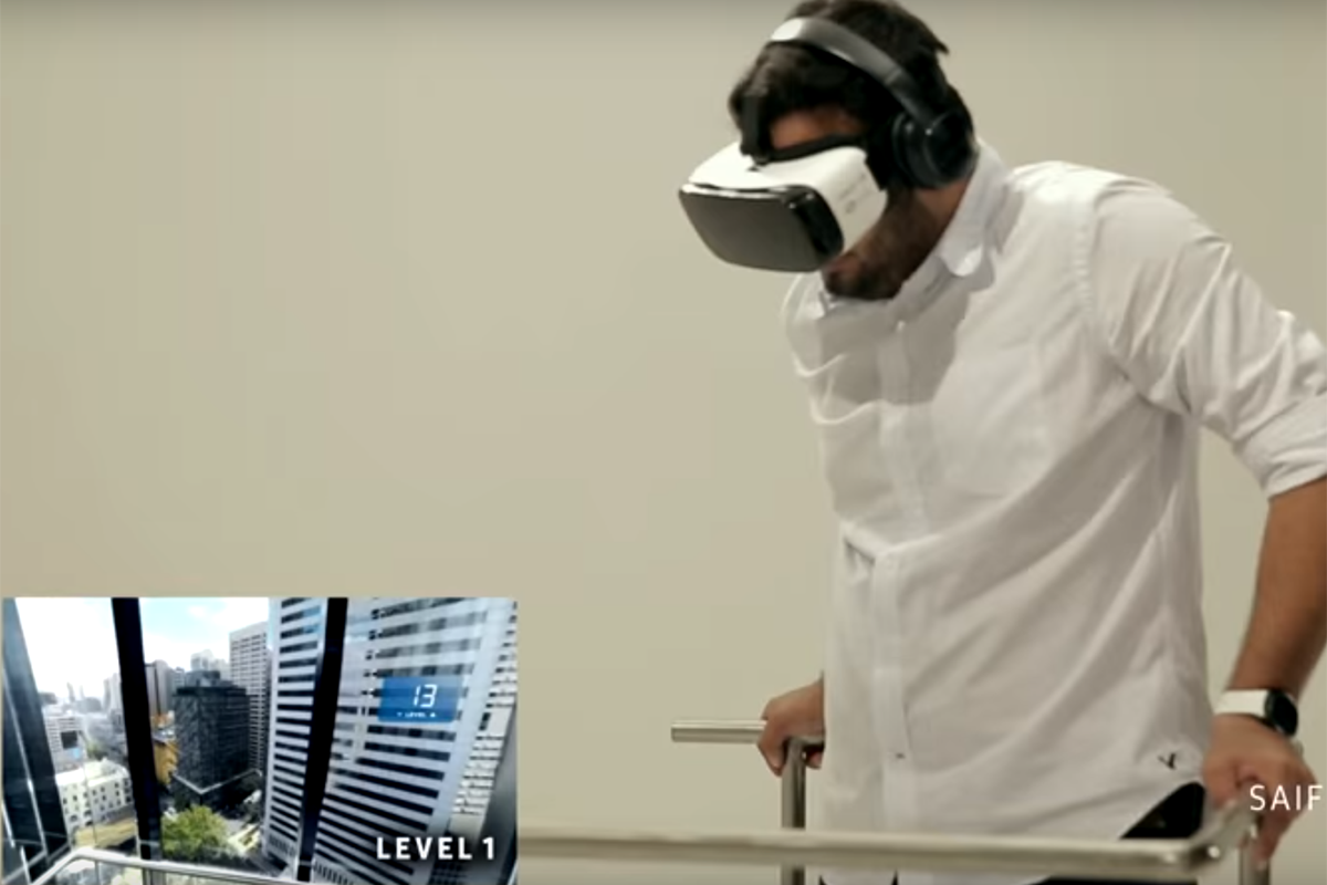 VR user with acrophobia